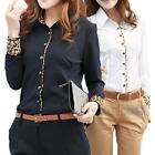 Black/White Cotton Long Sleeve Office Lady OL Business Leopard Shirt Top Blouse