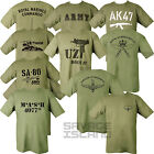 MILITARY COMBAT T-SHIRT 100% COTTON MARINES PARA SAS WAR WW1 WW2 OLIVE GREEN