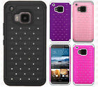 For HTC One M9 HYBRID IMPACT Dazzling Diamond Two Layered Phone Case Cover