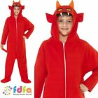 KIDS RED DEVIL ONESIE + HOOD - all ages 4-12 years - boys fancy dress