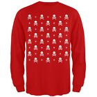 Skull And Crossbones Snowy Ugly Christmas Sweater Red Long Sleeve T-Shirt