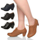 WOMENS LADIES BLOCK MID HEEL LACE UP CUT OUT BROGUE BOOTIES SHOE BOOTS SIZE
