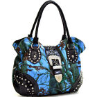 Patent Leather Handbag Camo Rhinestone Satchel Buckle Shoulder Bag with Suds