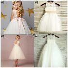 Elegant Champagne Flower Girls Princess Ruffle Wedding Party Pageant Tulle Dress