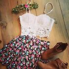 Summer Women Two Pieces Sets Strappy Cropped Top + Mini Flower Print Skirt Dress