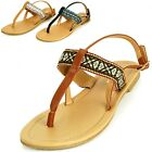 Women's T-Strap Sandals Slingback Thongs Embroidered Strap Flip Flops Boho Flats