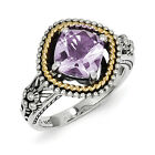 Pink Amethyst Ring .925 Sterling Silver & 14K Gold Accent Sz 6 - 8 Shey Couture