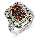 Garnet Diamond Ring Sterling Silver & 14K Accent 0.03 Ct Size 6 - 8 Shey Couture