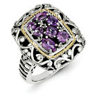 Amethyst & Diamond Ring Silver w/ 14K Gold Accent 0.03 Ct Size 6-8 Shey Couture