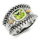 Peridot Ring .925 Sterling Silver w/ 14K Gold Accent Size 6 - 8 Shey Couture