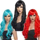 Ladies Long Curly Desire Wig With Fringe Mermaid Witch Fancy Dress Accessory