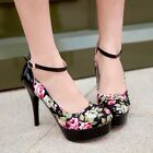 Plus Size Mary Janes Womens High Heel Floral Print Platfor Pumps Round Toe Shoes