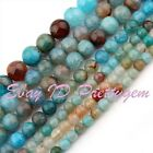 """Round Cracked Multicolor Agate Jewelry Making Loose Gemstone Beads Strand 15"""""""