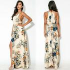 Women Summer Beach Party Sexy High Split Slit Floral Print Strap Maxi Long Dress