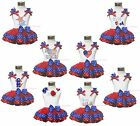 4th July Patriotic Star White Shirt RWB Trimmed Petal Skirt Girl Clothing NB-8Y