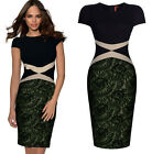 PLUS SIZE New Stock Women Short Sleeve Lace Formal Party Cocktail Pencil Dresses