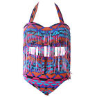 Colorful Plus Size Vintage High Waist Fringe Tassel Bikini Set Swimsuit Swimwear