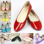 Women's Exquisite Ballet Flat Patent Leather Pumps Shoes Candy Colors KZUK