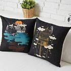 "Modern Black Art Pillow Case Cushion Cover Square Linen 17"" 20.87"" Office Decor"