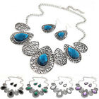 1Set Womens Mixed Style Bohemia Drop Chain Necklace+Earrings Jewelry popular new