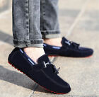 New Blue Suede Slip On Mens Driving Moccasin Loafer Casual Shoes US Size 6.5-10