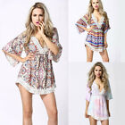 Women Lace Summer Dress Sexy V Neck Print Casual Dress Party Mini Dress 2015