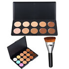 163 Flat Contour Brush Face Cheeks Blend Makeup Cosmetic + 10/15 Colors Palette