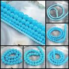"Aqua Blue Natural Jade Round Beads 15"" 4mm, 6mm, 8mm,10mm, 12mm pick your size"
