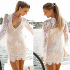 1PC Women Ladies Long Sleeve Lace Floral Evening Sexy V-Neck Slim Dress  HOT