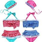 Girls Kids Toddler Halter Swimwear Plaid Bikini Bathing Swim Suit Swimsuit + Cap