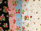 Poly Cotton Strawberry Print fabric, Fat 1/4, 50x56cm  Meter x112cm  lengths