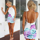 Summer Women Lady Sexy Floral Party Cocktail Evening Backless Bodycon Mini Dress