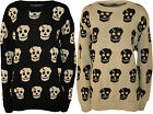 New Womens Plus Size Skull Pattern Long Sleeve Sweater Ladies Top Jumper 16 - 26