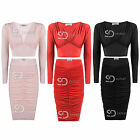 AP24 Ladies Ruched Front Long Sleeve Crop Top Womens Midi Bodycon Skirt Co Ord