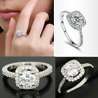 CHIC DIAMANTE WOMEN 9K WHITE GOLD PLATED ZIRCON CRYSTAL ENGAGEMENT WEDDING RING