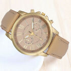 Geneva Women Watch Roman Numerals Faux Leather Analog Quartz Watch Beige Cheap