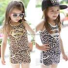 1-6Y Kids Girl Summer Cotton Leopard Print Sleeveless Vest+Shorts Outfits Suits