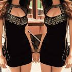 Women Bodycon Slim Gold Studs Hollow Out Party Evening Clubwear Mini Dress