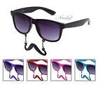 Sunglasses with Mustache Blue Pink Red Black Frame Party Prop Novelty