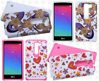 For LG Escape 2 HARD Hybrid Rubber Silicone Case Phone Cover +Screen Guard