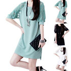 New Women Fashionable Dress Half-sleeved Sexy Chiffon Splicing Hollow-out Hot
