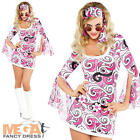 1960s Flower Hippy Ladies Fancy Dress 60s Retro Groovy Hippie Womens Costume New
