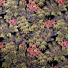 Japanese Bamboo Forest Asian Pictoral Green Metallic Gold on Black Cotton Fabric