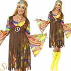 Ladies Hippy Costume 60s 70s Groovy Hippie Fancy Dress Womens Adult Outfit 8-22