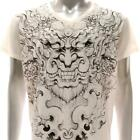 w43 M L XL Japanese Irezumi Tattoo VNECK T-shirt Demon Oni Mask Street Rider Men