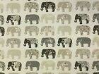 STUDIO G BY CLARKE AND CLARKE ELEPHANTS NATURAL COTTON CURTAIN FURNISHING FABRIC