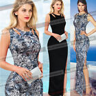 Womens Elegant Sexy Cut Out Side Split Formal Evening Party Maxi Long Dress 1225