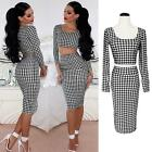2015 Womens Crop Top and Skirt Set Sexy Long Sleeve Two-piece Bodycon Midi Dress