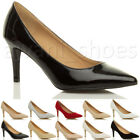 WOMENS LADIES MID HEEL POINTED SMART PARTY BASIC WORK COURT SHOES PUMPS SIZE