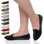 WOMENS LADIES FLAT PUNK GOTH SPIKE STUDDED BALLERINAS LOAFERS PUMPS SHOES SIZE